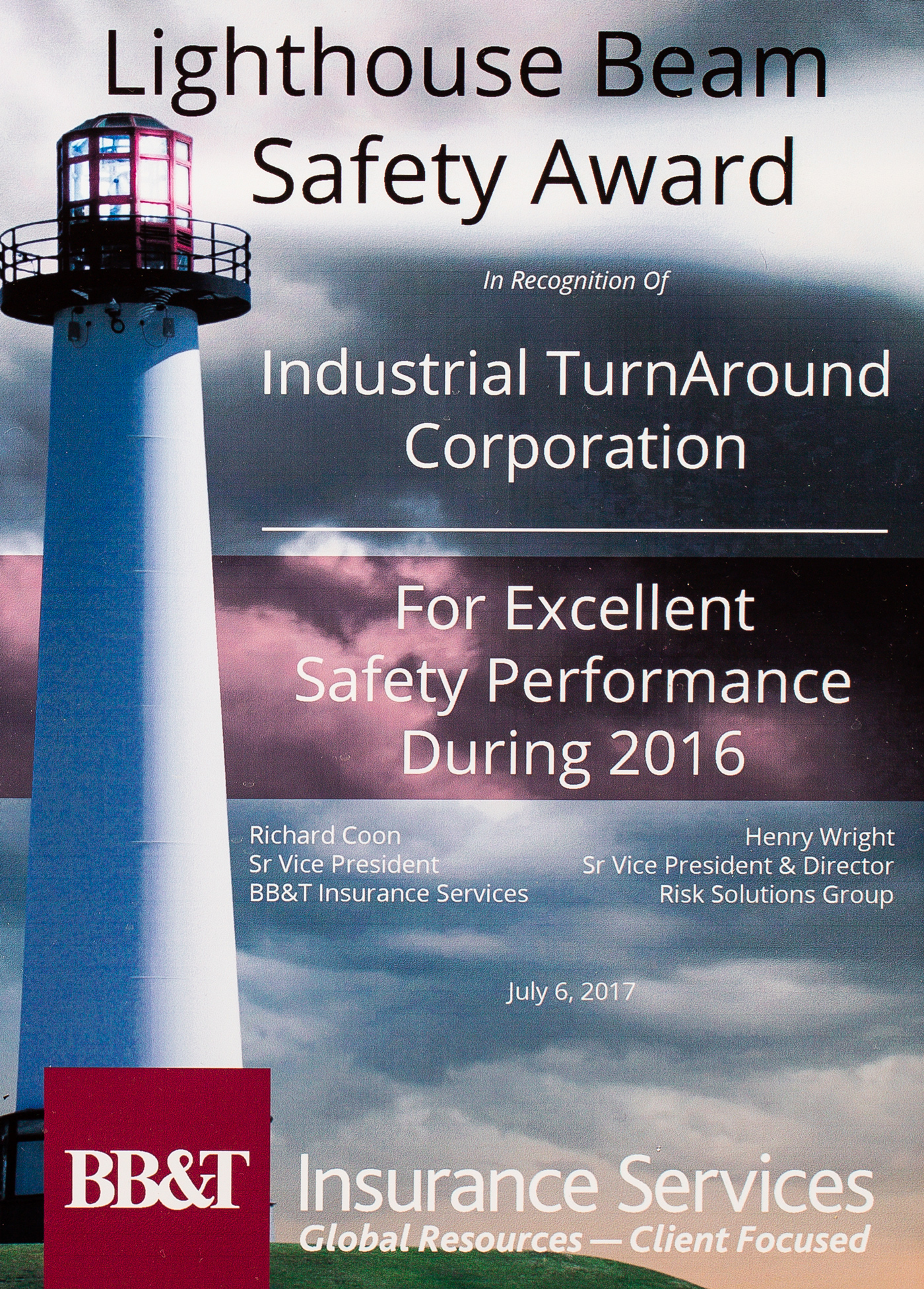 Lighthouse Beam Safety Award from BB&T for ITAC